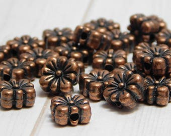 20pcs - 8mm - Metal Beads - Pewter Beads - Antique Copper Beads - Flower Beads - Daisy Beads - Copper Spacers - Spacer Beads - (B817)