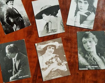 6 early film star trading cards in small album. Silent movies. 1920s. Film collectible. Max Linder. Clara Young. Margaret Gibson.