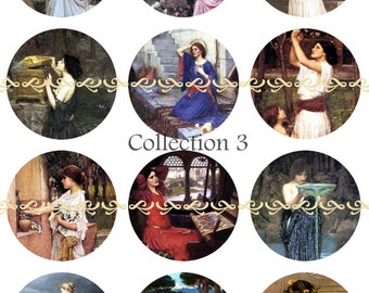 Famous Waterhouse paintings, pins, magnets or flatback cabochons, 5 ct or 12 ct, Set 3