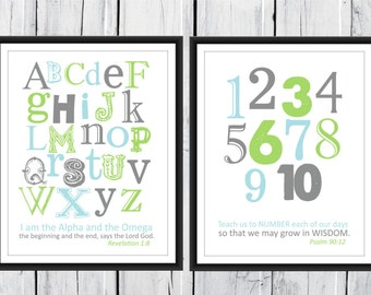 Christian Art Bible Verse Alphabet and Number Print Set 11x14 Revelation 1:8 Psalm 90