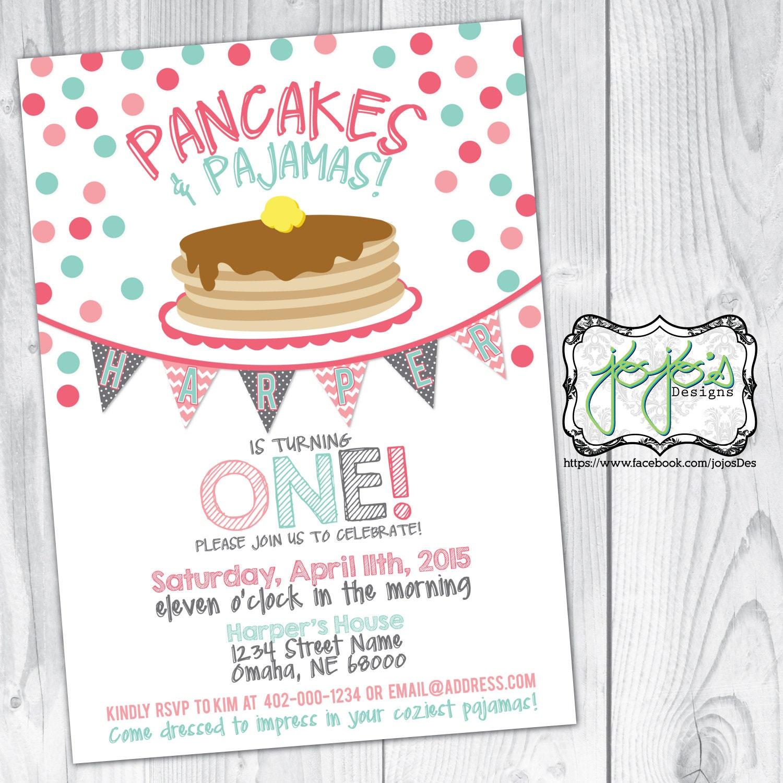 Coral and Mint Polka Dots Pancakes and Pajamas Birthday Party