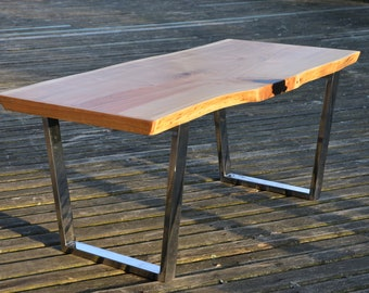 Monolith Cherry Coffee Table With Stainless Base - Industrial - LOFT Design