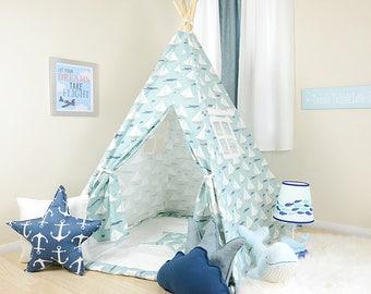 Cape May Blue / teepee for kids / kids teepee / children teepee / teepee tent / play teepee / toddler tent / play tent / kids tent