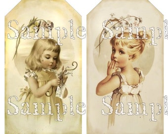 Victorian Children Tags Rectangle Oval Little Girls Digital Collage Sheet Printable Instant Download