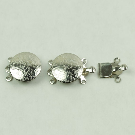 Clasps, Box Clasp 3 hole Silver Colored Round Clasp