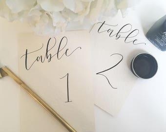 Calligraphy Table Numbers, Lettering Table Numbers, Beautiful Wedding & Event, Modern Calligraphy, WEDDING Table Numbers, Table Names