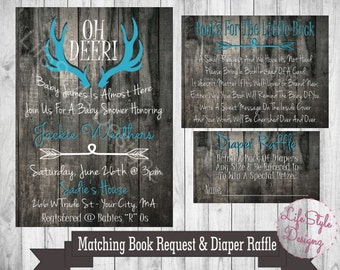 Oh Deer Baby Shower Invitation- Baby Buck On The Way - Antler Invitation - Hunter - Baby Shower - Its a Boy - Rustic Baby Shower - Blue