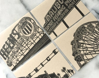 Los Angeles Westside Neighborhood Letterpress Greeting Cards, Set of 4