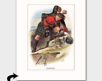 "MacKenzie Family Art Print w/Mat (Highland Tartan, Gift for Men, Scottish Battle Scene) --- Matted Scotland Art ""Clan MacKenzie"" No. 128"