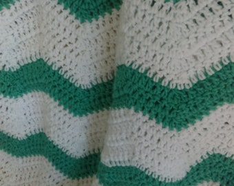 Snowy White and Teal Handcrafted Chevron/Ripple Crocheted Blanket
