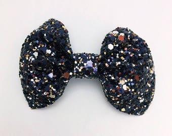 Chunky Black Glitter Bow Clip
