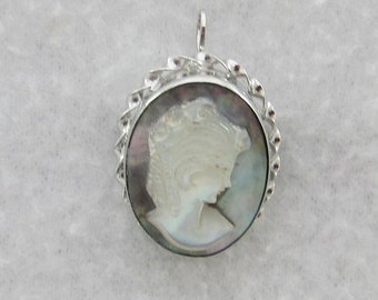 15% OFF Signed  Dixelle Sterling Silver Carved Mother Of Pearl Cameo Brooch or Pendant