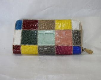 Handmade women's wallet in a real patchwork reptile. Elba model. various colors. Multipocket with Zipper. Card holder and coin purse.