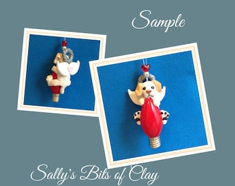 Yellow Labrador Retriever Dog (mouth closed) Angel Christmas Light Bulb Ornament Sally's Bits of Clay PERSONALIZED FREE with dog's name