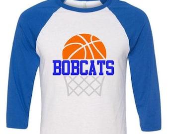 Basketball Mom Shirt Raglan with Mascot or Name,Game Day Shirt