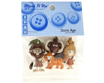Dress it Up Stone Age Caveman Saber Tooth Tiger Novelty Buttons Jesse James Theme Pack