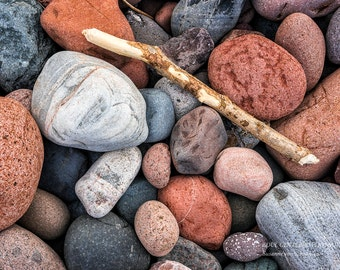 Lake Superior Rocks, Zen Nature Photo, Still Life, Beach, Red Gray Brown, Driftwood, Serene, Meditation, Nature Photography, Healing Art