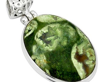Natural Rain Forest Green Oval Rhyloite Jasper Sterling Silver Pendant