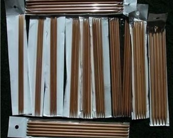 """15 size 5 inch double pointed Bamboo Knitting Needles DP (US 0-15) (you'll get total 75 needles,can also choose 6"""", 7"""",8"""")"""