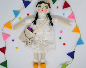 Rosa doll, rag doll, hand made doll, baby shower gift