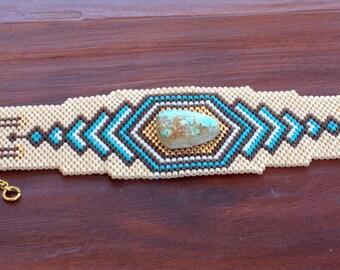 Tissé de perles Perles Bracelet - OOAK - Bracelet de perles de Style amérindien de Anerican - planète vivante - déclaration Bracelet - Pierre Turquoise