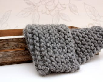 Grey Mini-Blanket, Grey Wool Blanket, Chunky Grey Layer, Grey Garter Stitch Blanket, Photo Prop, Newborn Photography, Sitter Photo Prop