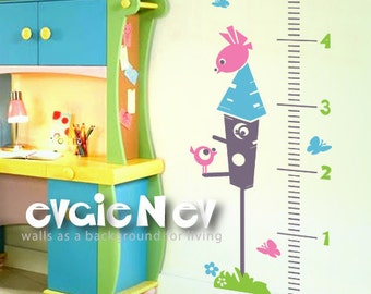 Birds in the House - Growth Chart Wall Decal for Children - GRCH020R