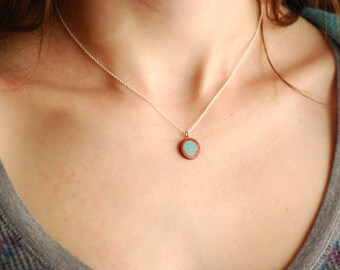 Red Heart and Turquoise circle pendant Wood Silver simple and elegant valentine's day gift