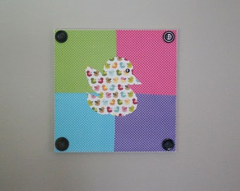 Duck Wall Art, Polka Dots, Buttons, Duck Canvas, Duck Decor, Baby Shower, Nursery Art, Baby Shower Gift, First Birthday Gift, Nursery Decor