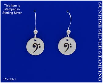 Bass Clef Sterling Silver Earrings, F Clef, Gift for Cellist, Bass Player Gift, Music Lover Gift, Bass Clef Jewelry, Gift for Musician