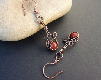 Earrings fancy copper patina beads round red Jasper and seed beads