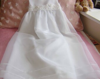 "A Pretty White Embellished Sash  Christening Gown - ""Evie"""
