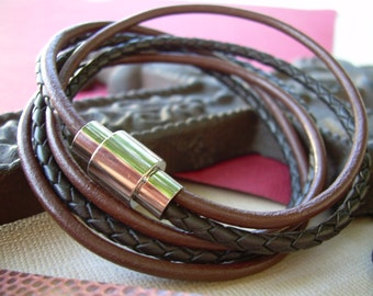 Mens Bracelets Leather, Leather Bracelets for Men, Leather Bracelet, Chocolate and Brown Braid Triple Wrap Bracelet with Magnetic Clasp,