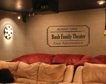 Wall Decal - home theater movie ticket 000