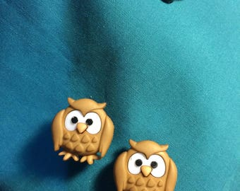 Cute Wise Old TAN OWL Bird Clog Shoe Charms
