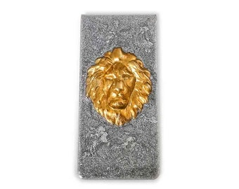 Money Clip Brass Gold Lion Inlaid in Hand Painted Metallic Silver Enamel Neo Victorian Leo Custom Colors and Personalized Options