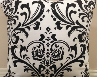 Zipper Closure Damask Black White Pillow Cover Decorative Throw Pillow 12x16,16x16, 18x18, 20x20
