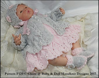 """Knitting Pattern Lacy panelled Dress and Jacket Set 16-22"""" doll/preemie-3m+ baby"""