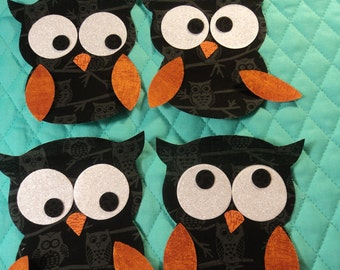 """Die Cut Applique Shapes. Set of 4,   Owl Shapes.  Black w/ Gray Owl Fabric.  4 x 4 1/2"""".  Fusible (Iron On)."""
