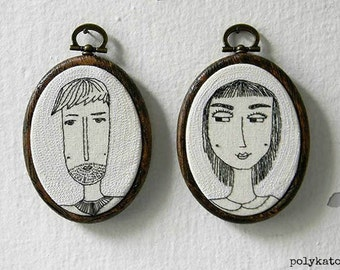 Custom Couples Portraits, Embroidered Portraits, SET OF TWO, Modern Embroidery Art, Personalized Gift Ideas, by polykatoikia