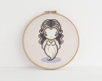 Ghost - a cute pixel art counted cross stitch pattern