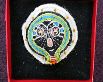 Pushan - Embroidered Badge - jewelry-textile art textile brooch Medallion-