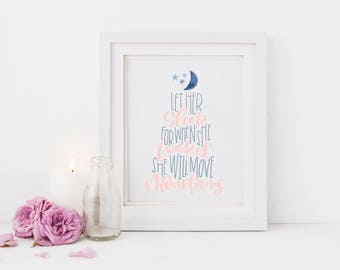 She Will Move Mountains Print, He Will Move Mountains Print, Nursery Print, Baby Wall Decor