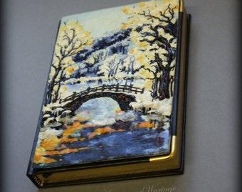 Winter landscape, river and bridge cover journal
