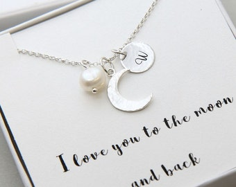 Crescent Moon Necklace, I Love You To The Moon and Back Necklace, Personalized Necklace, Initial Moon Necklace, Personalized Gift for Women