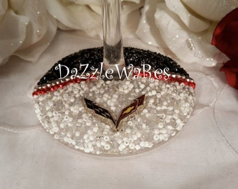 CORVETTE C7 Themed Beaded WINE Glass Set of 2 -Red/White/Black Two Tone Design- Stingray-Racing-Automotive-Custom-Collectible Gift-Chevrolet