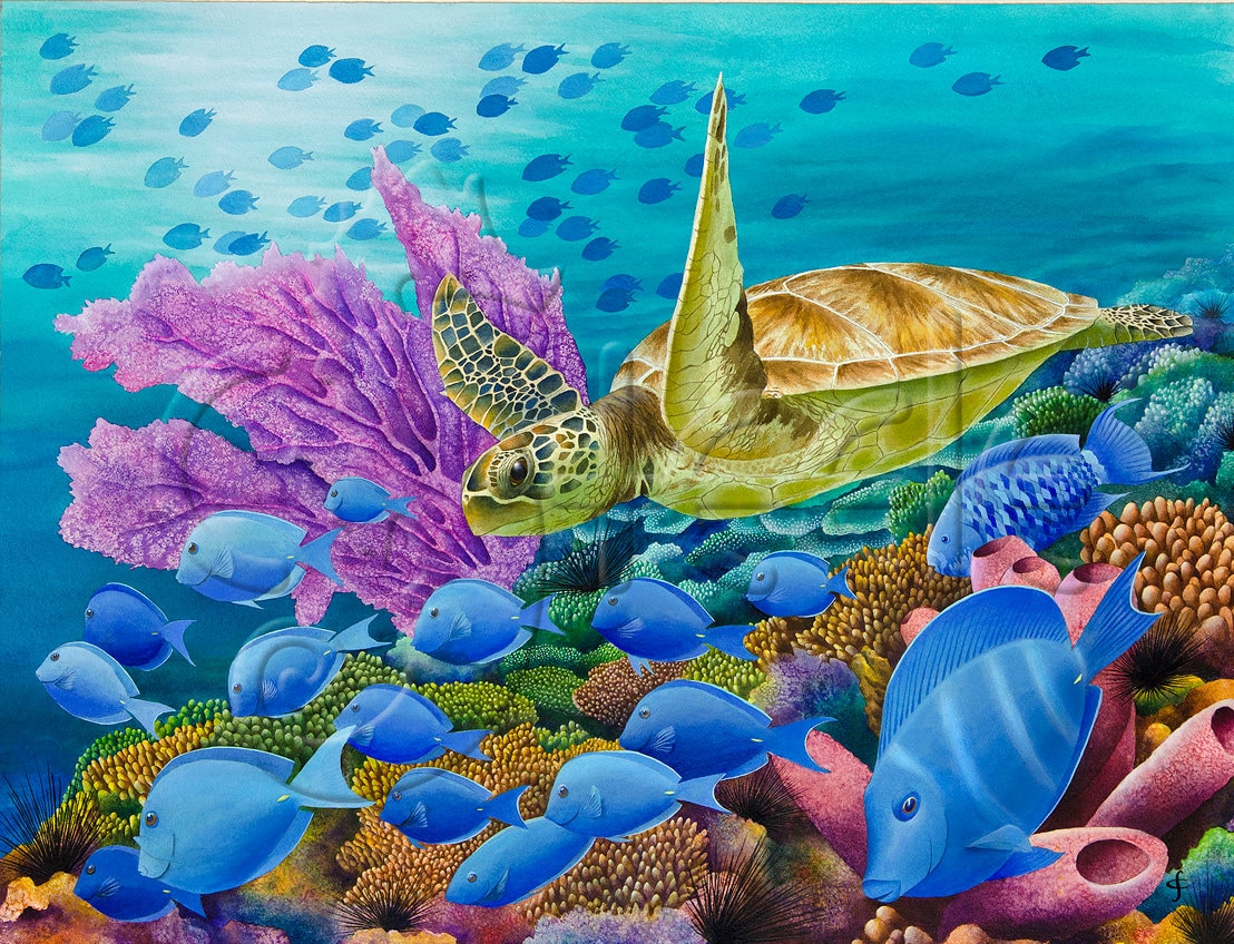 Underwater Tropical Caribbean Coral Reef Art Print With Sea