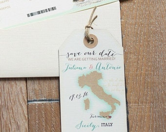 Wedding invitation st thomas map Save the Date Luggage Tag Magnet design fee