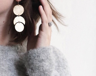 Luna Earrings, Moon Shape Earrings, Moon Earrings, Circle Earrings, Statement Earrings, Cresents, GEMINI