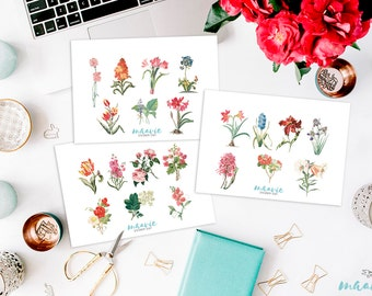 Vintage Flower Set Stickers (small)